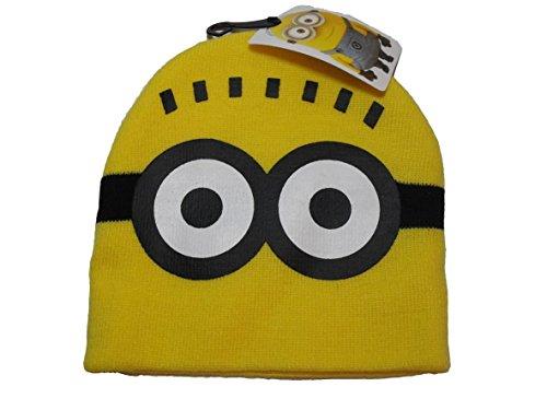 [Despicable Me Minion Boys Knit Winter Hat Yellow with Minion Eyes] (Despicable Me Minion Hats)