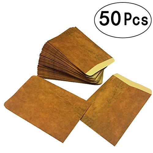 Vintage Brown Kraft Paper Envelopes Mini Craft Paper Envelopes for Wedding Thank You Greetings Cards Note Baby Showers Favors, 50pc