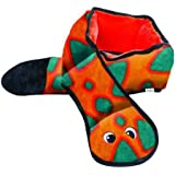 Outward Hound Kyjen 32068 Invincibles Plush Snake Stuffingless Durable Dog Toys Squeaker Toy 6-Squeakers, Large, Orange Blue