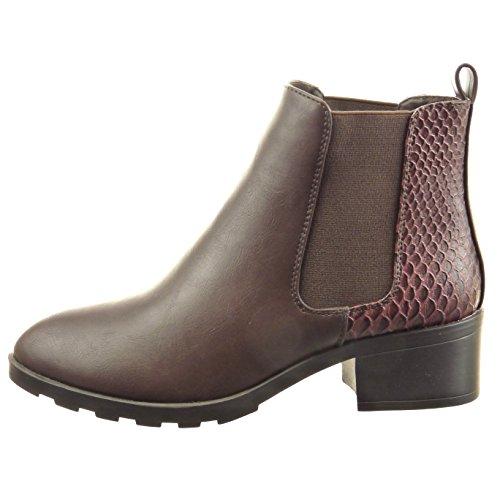 Sopily - Chaussure Mode Bottine Chelsea Boots Cheville femmes Peau de serpent Talon bloc 4.5 CM - Marron