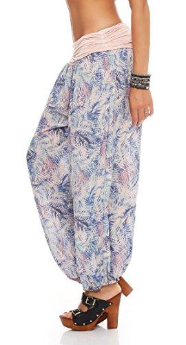 ZARMEXX Señoras bloomers el harem del harem de los pantalones de verano selva patrón de la impresión de los pantalones ocasionales de los pantalones de harén Rosa