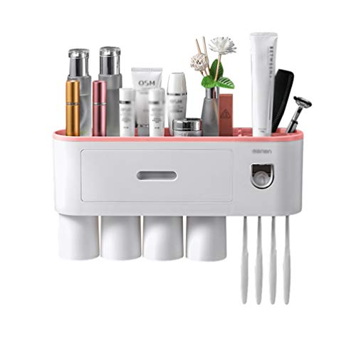NiSeng Wall-Mounted Toothbrush Holder,Toothbrush Slots Toiletries Storage Rack Automatic Toothpaste Dispenser and Toothbrush Holder Set