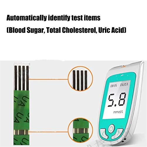 Prueba casera fácil de usar Kit de prueba de colesterol 3 en 1 Medidor multifunción de ácido úrico y diabetes con 25 de azúcar en sangre, 25 de ácido úrico y 10 tiras de prueba de colesterol Máquina para el cuidado de la salud