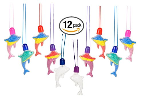 Childrens Care Kit - Sand Art Necklaces Packege of 12 Fun Crafts Activity & Great party accessories - Play Kreative TM (Dolphin)