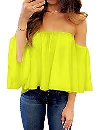 Amazon Com Yellows Blouses Button Down Shirts Tops Tees