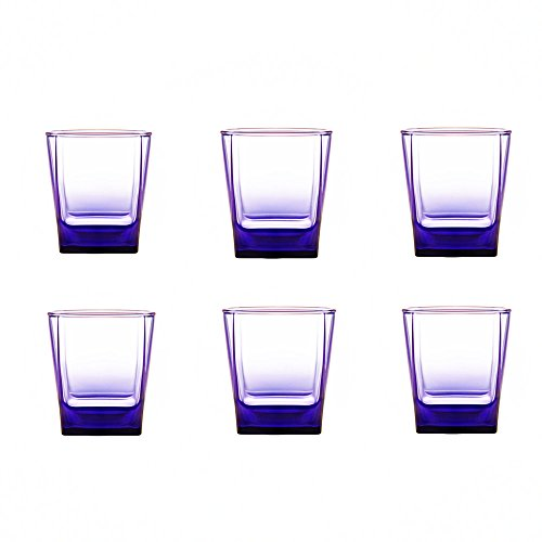 Kinger_Home 7- ounce small purple Glassware Drinkware Glass Cups ,Set of 6 Glass,Durable Wine Cups,Drinking Glasses for Water, Juice, Beer, Wine, and Cocktails