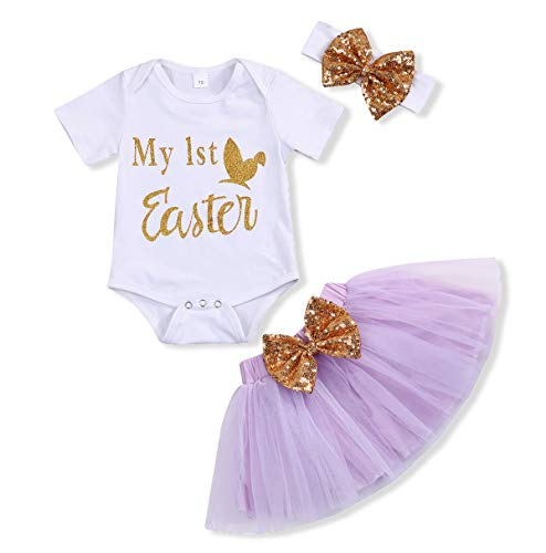 Baby Girl My 1st Easter Skirt Sets Bunny Easter Egg Romper Dot Bubble Tutu Dress Easter Rabbit Outfits (White +Purple, 6-9 Months)
