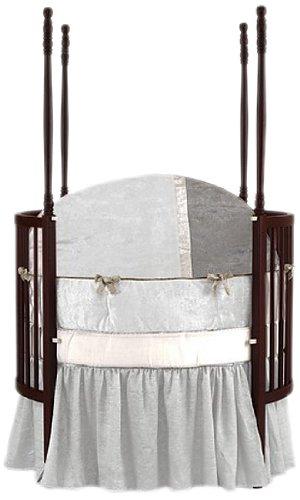 Baby Doll Bedding Round Crib Bedding Set, White, 4 Piece