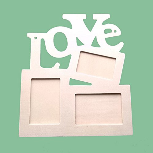 Photo Frame,Baomabao DIY Picture Frame Art Decor Hollow Love Wooden White Base