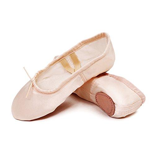 GetMine Kids Girls Satin Ballet Dance Shoes Split-Sole Practice Gymnastics Ballet Slippers Flats-Pink-5 M US Big Kid (Average Shoe Size For 5 5 Woman)