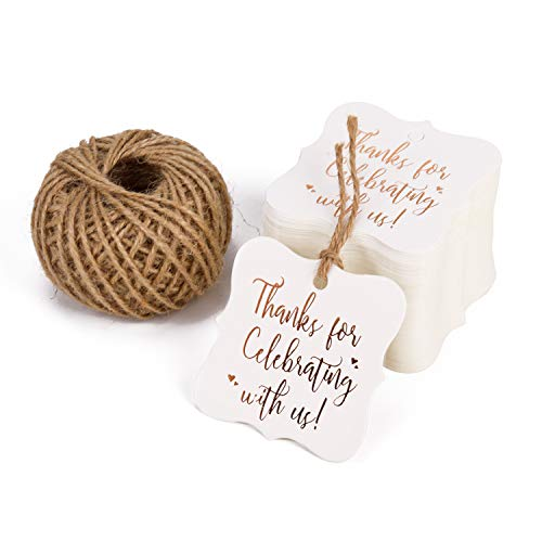 with String - 100PCS White Kraft Thank You Paper Tags with 100 Feet Natural Jute Twine for Wedding, Baby Shower, Party Favors ()