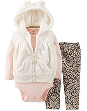 Carters Infant Girls 3 Piece Set Plush White Hoodie Leopard Leggings & Shirt