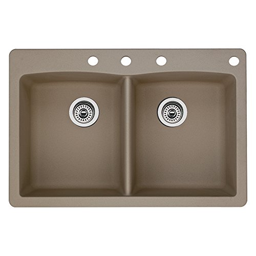 (Blanco 441285-4 Diamond 4-Hole Double-Basin Drop-In Granite Kitchen Sink, Truffle )