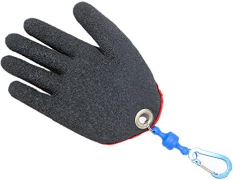 手袋 日常 実用 釣り手袋右手半分手のひらアンチピアス防水ナイロンPE保護、磁石で接続、便利、シングル (Color : Black, Size : XL-Right hand)