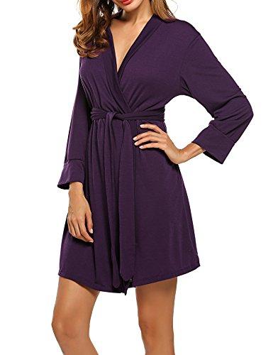 HOTOUCH Women's Kimono Robes Soft Cotton Nightwear Short Style Purple M (Soft Cotton Short)