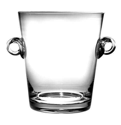 """Barski -Glass- Ice Bucket- Wine Cooler - 7.25"""" H Glass - with 2 Handles - Clear - Made in Europe"""