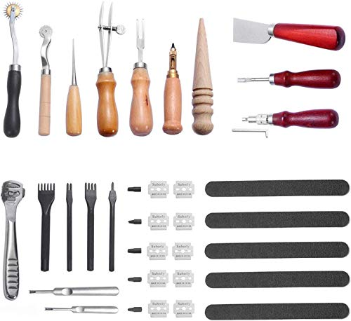 BANYOUR 29 Pcs Leather Craft Kit for Hand Sewing, Leather Hand Sewing Punch Tools Kit with Edge Beveler, Stitching Carving Working Sewing Saddle Groover Leather Craft DIY Tool