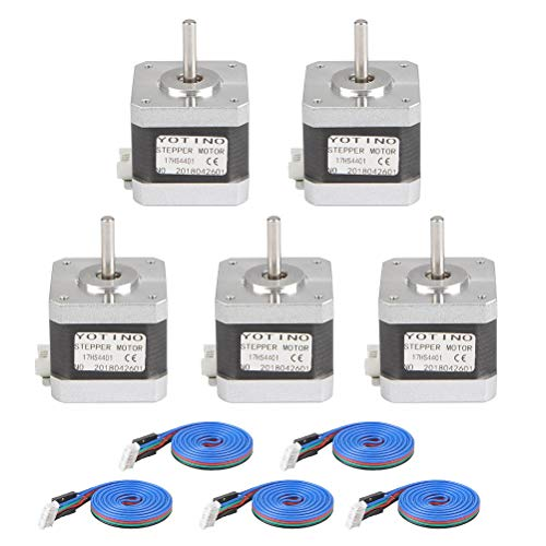 Stepper Motor Nema 17, 5Pcs 30Ncm (43oz.in) Holding Torque Stepping Motor 4-Lead 1.68A 1.8Deg 42 Motor for 3D Printer/Laser Engraving/CNC (Bonus: 5Pcs 39.4inch/1m Stepper Motor Cable)