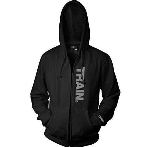 EliteFTS Men's Gray Train Zip Hood L Black