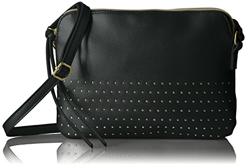 Stud Cross Body (T-Shirt & Jeans Double Zip Cross Body with Stud Detail, Black)