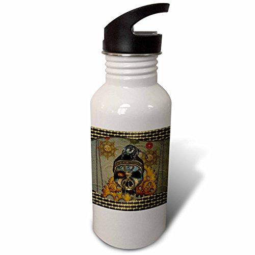 3dRose Heike Köhnen Design Steampunk – Steampunk, steampunk skull with steampunk rat – Flip Straw 21oz Water Bottle (wb_266371_2)