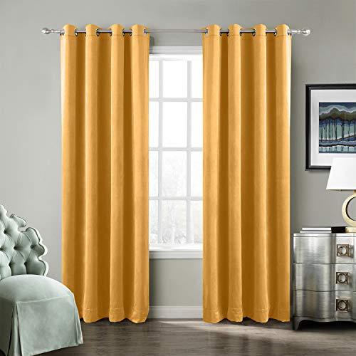 Heavy Velvet Curtain Drape Panel Super Soft Handfeel Luxury Nickel Orange 50Wx84L Inch (Set of 2 Panels) Birkin Collection Theater Bedroom Living Room Hotel ()