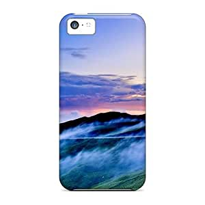 linJUN FENGIphone 5c Hard Back With Bumper Silicone Gel Tpu Case Cover Mountain Road In Fog Hdr