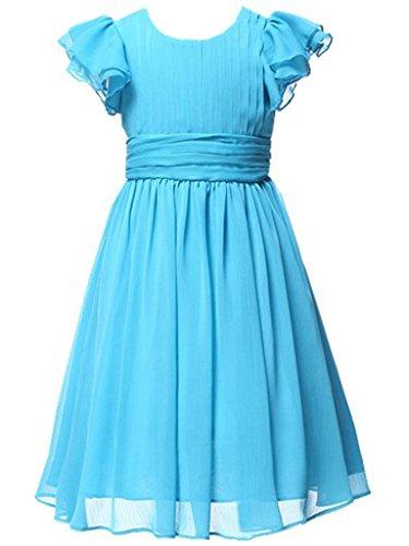 Happy Rose Flower Girl's Dress Prom Party Dresses Bridesmaid Dress Aqua Blue 6 ()