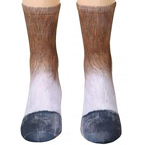 Animal Paw Socks Paw Print 3D Socks Novelty Animal Paws Crew Socks for Men Women Kids (Horse, (2 pair) Adult US 5-10)