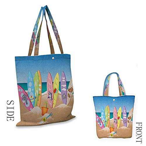 Heavy Duty Shopping Tote Bag, Soft and Foldable Ocean An Illustration Collection of Surfboards on the Sandy Beach the Sky and the Sea Print Shoulder Tote and Handbag