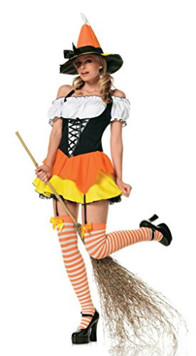 [Leg Avenue Womens Kandy Korn Witch Outfit Fancy Dress Sexy Costume, S (2-6)] (Kandy Korn Witch Costumes)