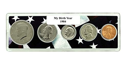 1984-5 Coin Birth Year Set in American Flag Holder - Coin Year Holder