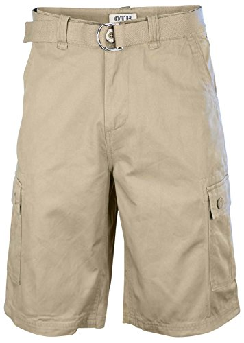 One Tough Brand Men's Cotton Twill Belted Cargo Shorts-Light Coffee-34