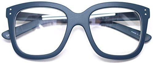 Big Square Horn Rim Eyeglasses Nerd Spectacles Clear Lens Classic Geek Glasses (Navy88122, - Frames Rim Horn Glasses