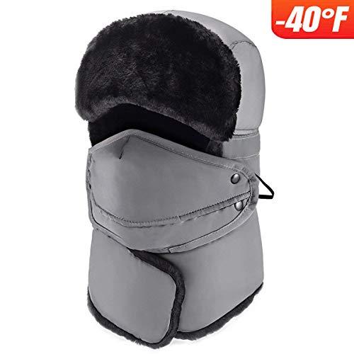 mysuntown Winter Windproof Warm Hat & Trapper Ushanka Hat, Beanie Warm Hats for Men and Women Outdoor Skiing Sport (Grey)