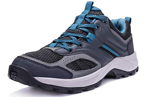 (CAMEL CROWN Hiking Shoes for Men Tennis Trail Running Backpacking Walking Shoes Comfortable Slip Resistant Sneakers Lightweight Athletic Trekking Low Top Boot Black 10D(M))