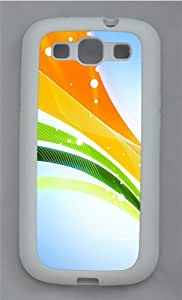 3D Colorful Ribbons TPU Silicone Rubber Case Cover for Samsung Galaxy S3 SIII I9300 White