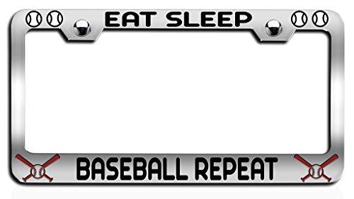 Makoroni - EAT SLEEP BASEBALL REPEAT Baseball Ch Steel License Plate Frame, License Tag Holder