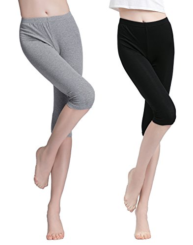 Vinconie Women Knee Tight Yoga Running Workout Sports Gym Capri Leggings (Below Knee Leggings)