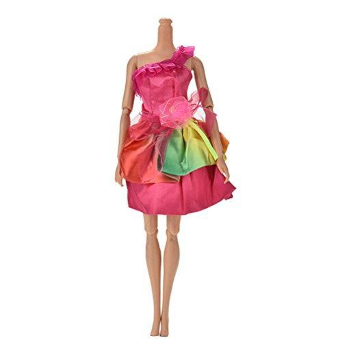JiaUfmi 1 Pcs Rose Rainbow Dress Rapunzel Party Dress Costume Wedding Gown Dress for Cinderella Snow White Dolls]()