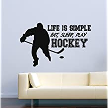 USA Decals4You | Sport Wall Decals Hockey Player Quotes Life Is Simple Eat Sleep Play Hockey Decor Stickers Vinyl MK0574