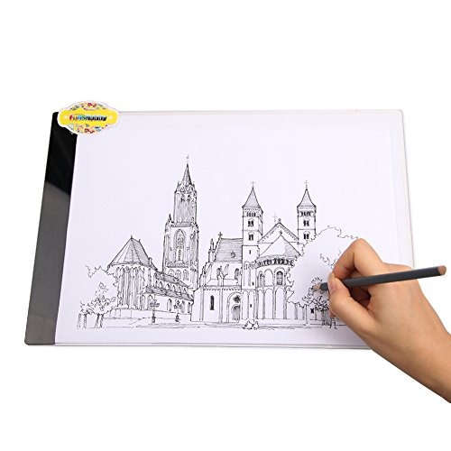 Funshobby A4 LED Light Box Ultra-thin Portable LED Pad USB Power Tracing Light Box Light Table for Kids 2D Animation Drawing Artists Tattoo Transferring Sketching (Drawing Tent compare prices)