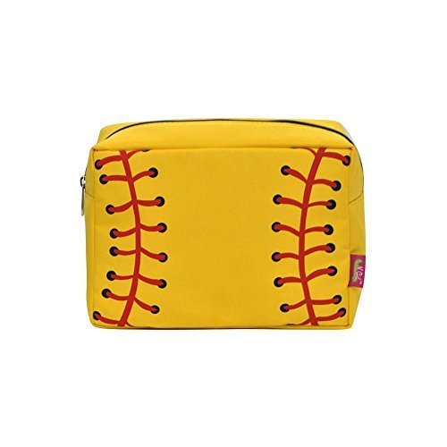 N. Gil Large Travel Cosmetic Pouch Bag 3 (Yellow Softball Black)