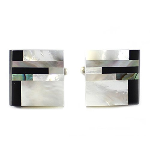MENDEPOT Classic Genuine Onyx and Mother of Pearl Cufflink With (Genuine Cufflinks)