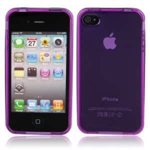 Simplicity Style Transparent TPU PC Case Cover for iPhone 4/4S Purple + Black