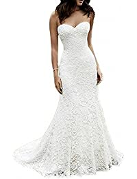 5221b4007f77f Women's White Lace Wedding Dress Beach Mermaid Bridal Dresses