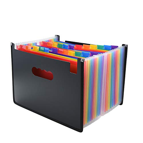 Expanding File Folder/24 Pockets A4 Accordion File Organizer/Multicolor Portable Expanding Wallets/Large Capacity Plastic Stand Bag with Colored Tab for Business/Office/Study ()