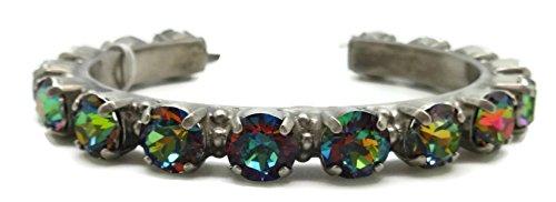 Sorrelli Volcano Round Cut Antique Silvertone Crystal Cuff Bracelet ()