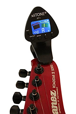 Chromatic Clip On Guitar Tuner - xiiTone XT-1 - Acoustic & Electric Guitar Tuner - Bass Tuner - Violin Tuner - Large Color Display That Rotates 360 Degrees - Professional & Easy To Use - Adjustable Frequency - Lifetime (Professional Guitar Tuner)