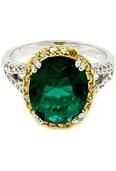 Vintage 2- tone Royal Engagement Ring w/Emerald & White CZs